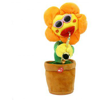 Round Edge Sunflower Electric Music Demon Flower Children Plush Toys - CANTALOUPE