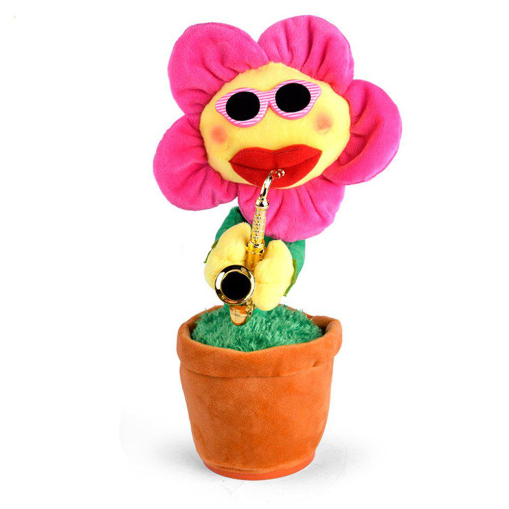 Round Edge Sunflower Electric Music Demon Flower Children Plush Toys - DEEP PINK
