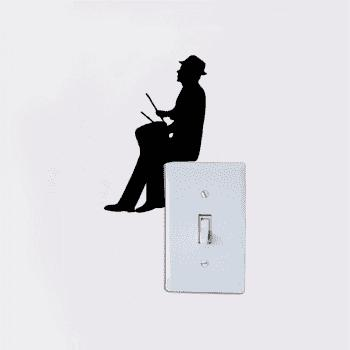 Customized Wall Stickers Removable Music Man Playing Drum Light Switch Decor - BLACK 15.2X9.9CM