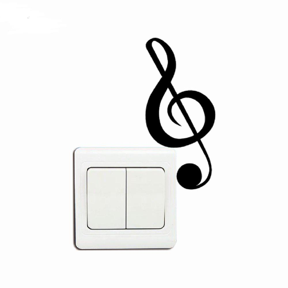 Treble Clef Musical Note Wall Decal Vinyl Removable Decor Light Switch Sticker - BLACK 11.9X5.3CM