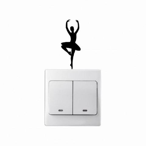Danseur de Ballet De Mode Stickers Muraux Creative Vinyle Interrupteur D'éclairage Decal Home Decor - Noir 7X2.7CM