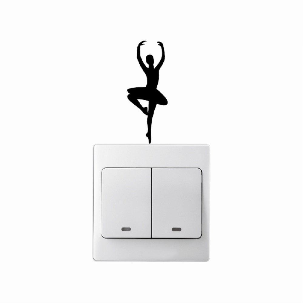 Ballet Dancer Fashion Wall Stickers Creative Vinyl Light Switch Decal Home Decor mymei 100pcs wall stickers decal glow in the dark baby kids bedroom home decor color stars luminous fluorescent wall stickers decal