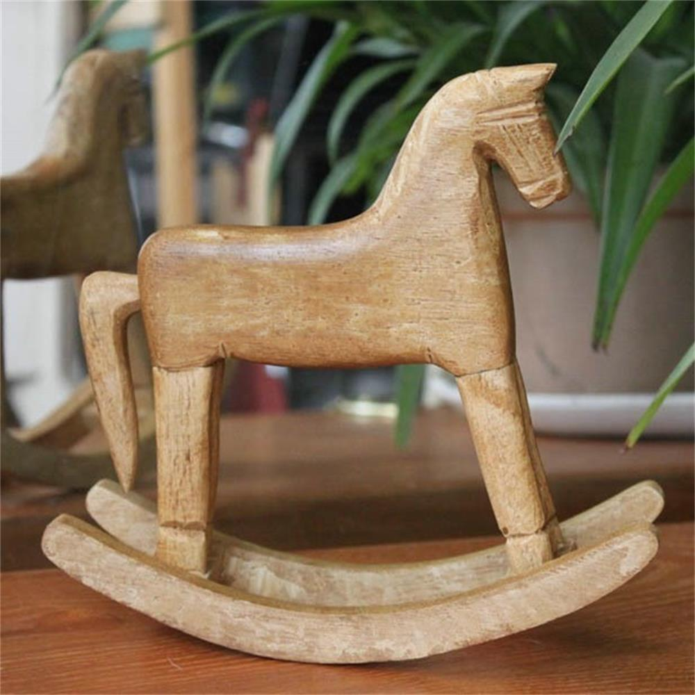 CB-13001 Retro Rocking Horse Solid Wood Craft Ornament children horse rocking horse wood rocking horse toy baby rocking chair dual purpose baby gift