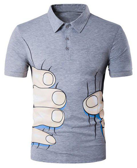 Men's 3D Print Casual Slim Fit Short Sleeve Polo Shirt - LIGHT GRAY S