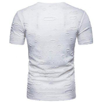 Men's Casual Holes Slim Fit Short Sleeve T-shirts - WHITE M