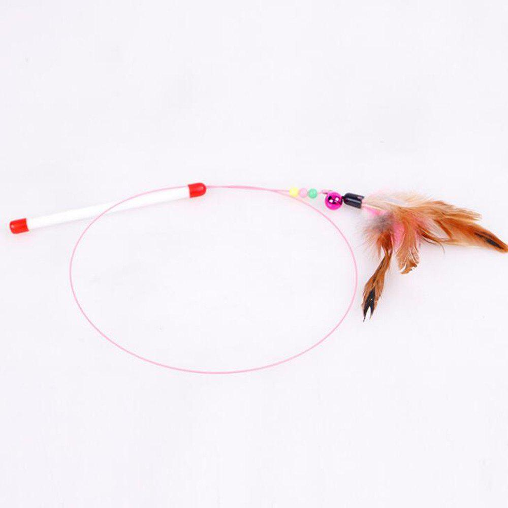 Metal Wire Pet Toy with A Feather Bell Teasing Cat Stick - multicolor A