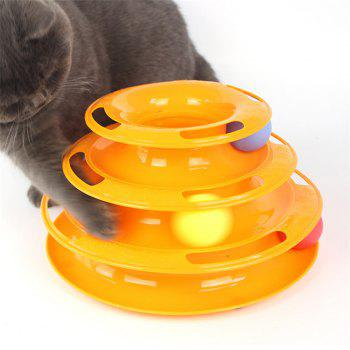 Pet Three - Layer Ball Game Plate Teasing Cat'S Turntable - YELLOW