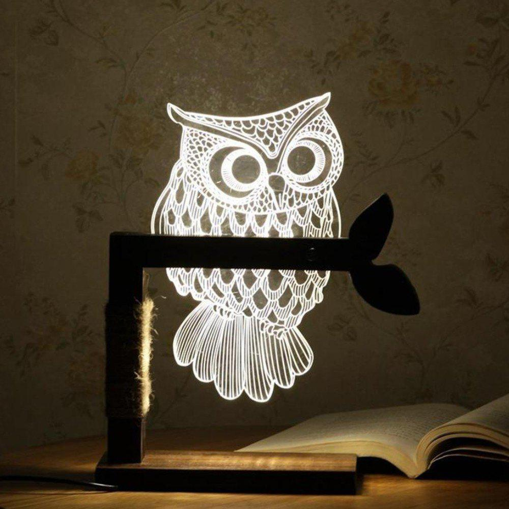 Owl 3D Vision Creative Solid Wood Desk Lamp creative solid wood desk lamp for 3d stereoscopic vision