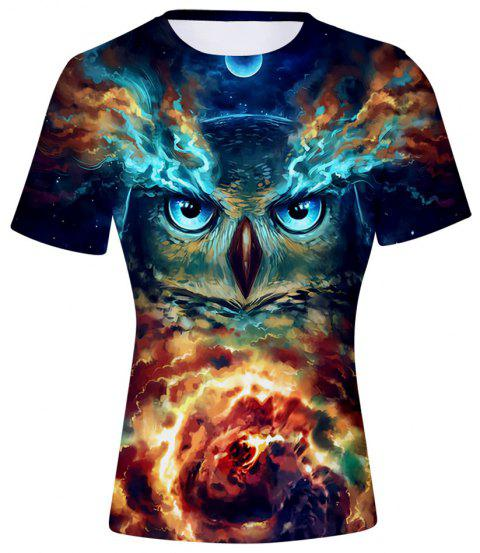 2018 New Space Owl Print 3D T-Shirt - multicolor A S