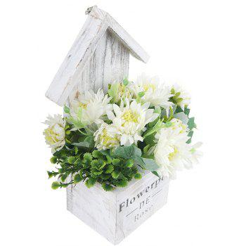 Wooden House Decorated Art Flower Bonsai - WHITE