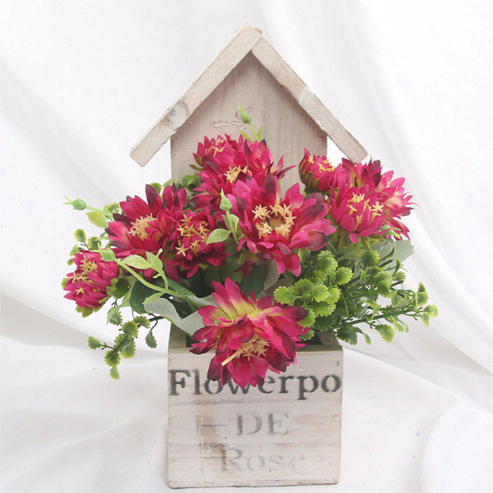 Wooden House Decorated Art Flower Bonsai - RED WINE