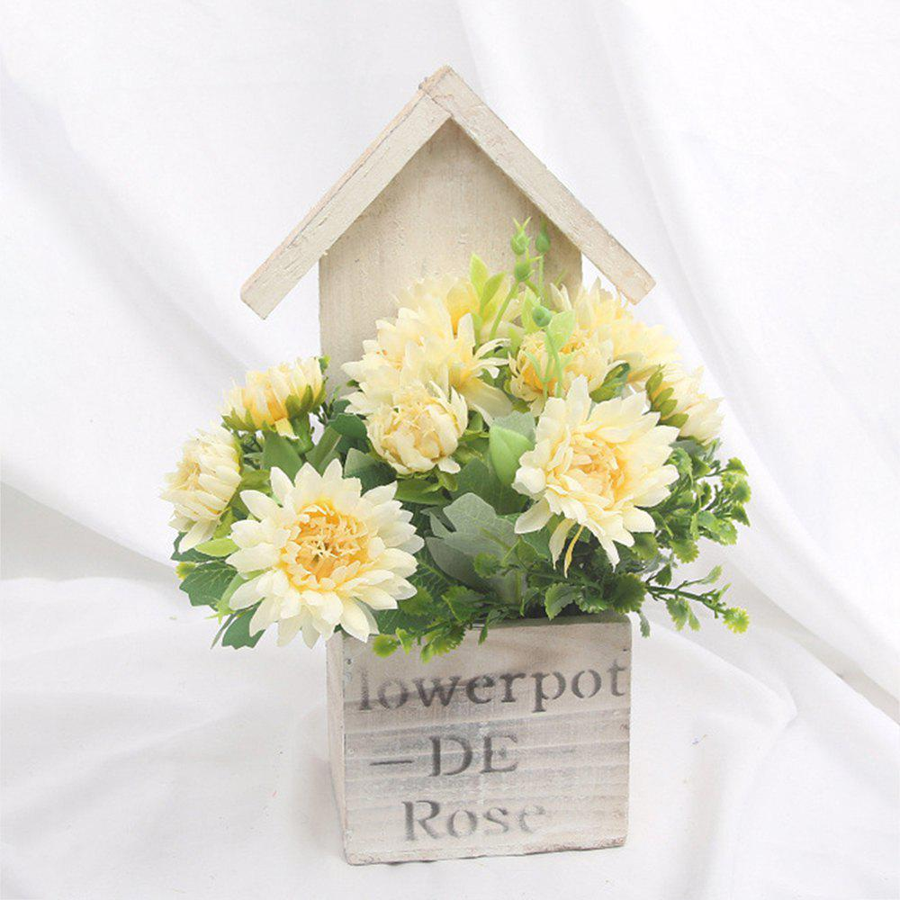 Wooden House Decorated Art Flower Bonsai - BEIGE