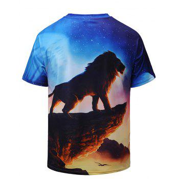 Cliff Lion 3D Digital T-shirt - multicolor A L