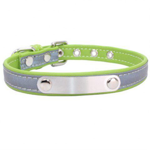 Reflective Collar Stainless Steel Iron Comfortable Microfiber Dog Chain - GREEN YELLOW 30CM X 1.5CM