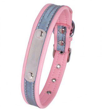 Reflective Collar Stainless Steel Iron Comfortable Microfiber Dog Chain - PINK 37CM X 1.5CM