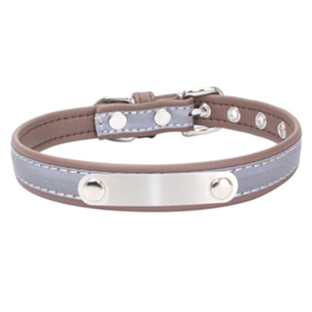 Reflective Collar Stainless Steel Iron Comfortable Microfiber Dog Chain - LIGHT BROWN 37CM X 1.5CM