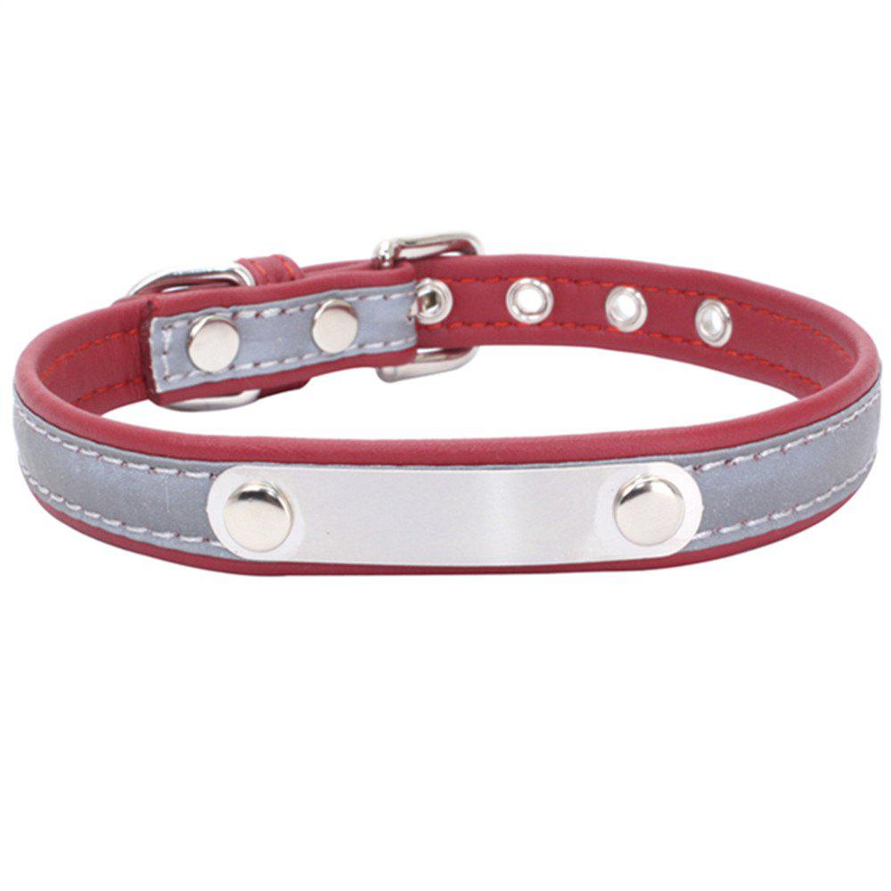 Reflective Collar Stainless Steel Iron Comfortable Microfiber Dog Chain - CHERRY RED 30CM X 1.5CM