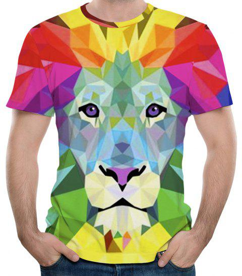 Summer Leisure Watercolor Lion Figure 3D Print Men's Short Sleeve T-shirt - multicolor D S
