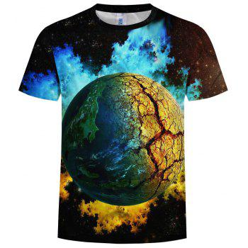 New Summer Casual Fashion Space Planet 3D Print Men's Short Sleeve T-Shirt - multicolor E L