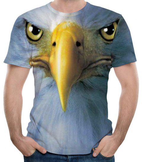Fashion 3D Eagle Print Men's Short Sleeve T-shirt - multicolor F L