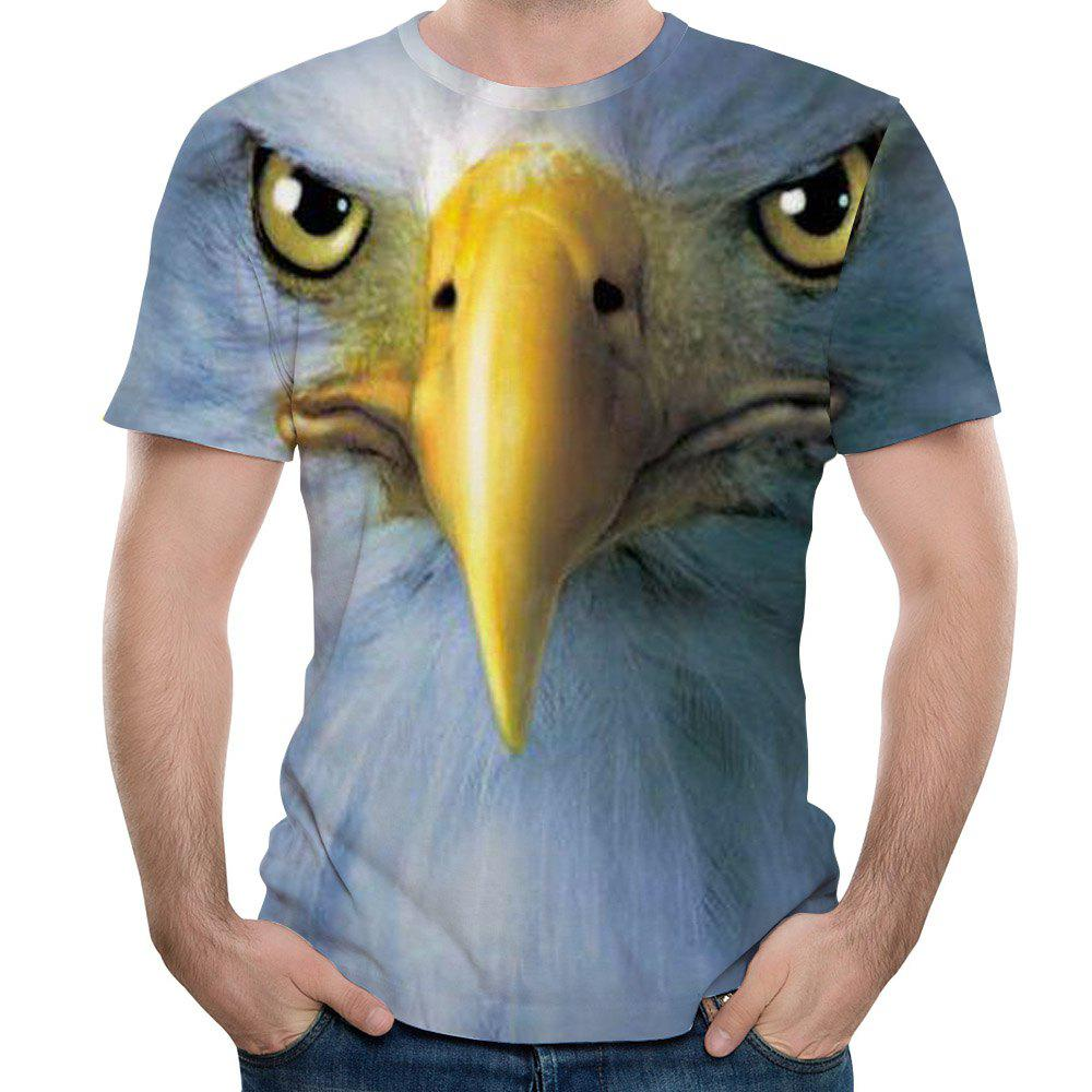 Fashion 3D Eagle Print Men's Short Sleeve T-shirt - multicolor F 3XL