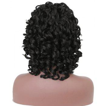 Short Afro Culry Heat Resistant Synthetic Hair Black Wig for African American - BLACK 12INCH