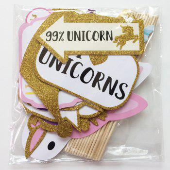 26PCS Birthday Party Rainbow Unicorn Photo Props - multicolor A