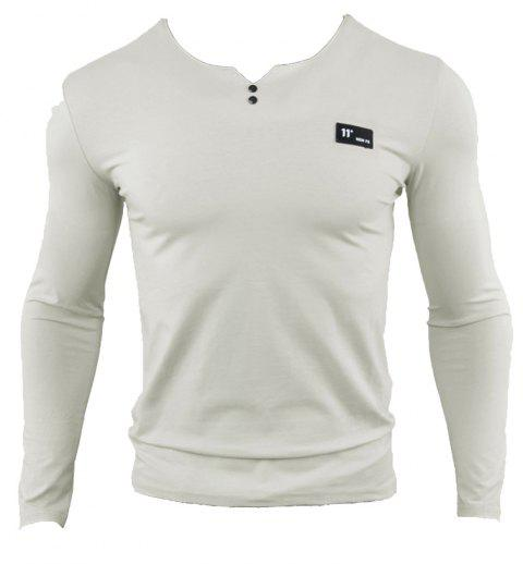 V-neck Long-sleeved Cotton Men T-shirt - GRAY GOOSE L