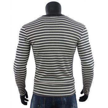 O-neck Striped Cotton Long Sleeve Men T-shirt - GRAY WOLF L