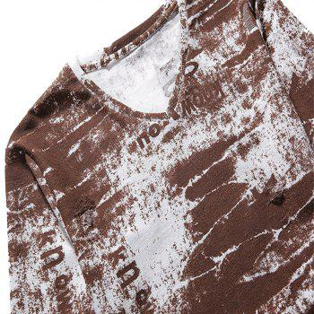 Long Sleeve Cotton Gradient Letters Print T-shirt - DEEP BROWN L