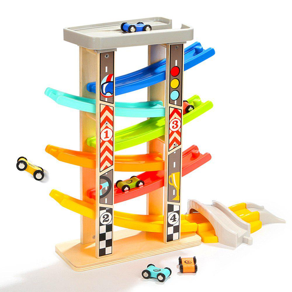 6 Wooden Car Ramps Racer for Kids with 6 Mini Racers and Extra Bridge - multicolor A