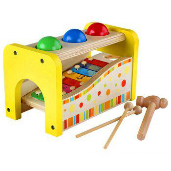 Wooden Pounding and Hammering Bench with Silde Out Xylophone Educational Toys - multicolor A