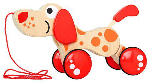 Walk the Dog Puppy Wooden Pull Toy - RED