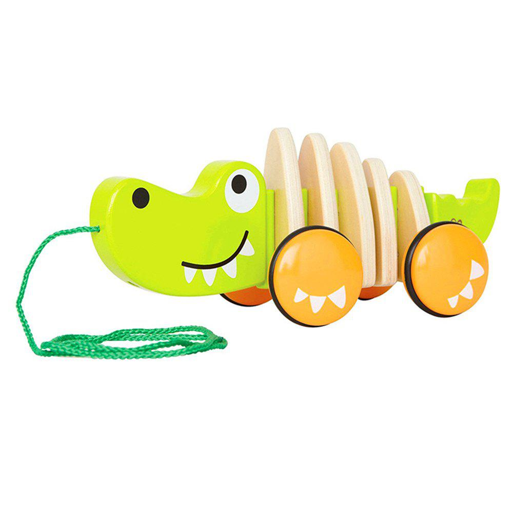 Walk Along Croc Wooden Pull Toy - YELLOW GREEN
