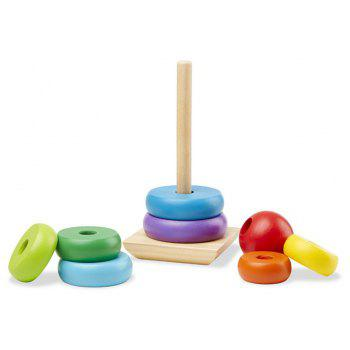 Rainbow Stacker Wooden Ring Educational Toy - multicolor A