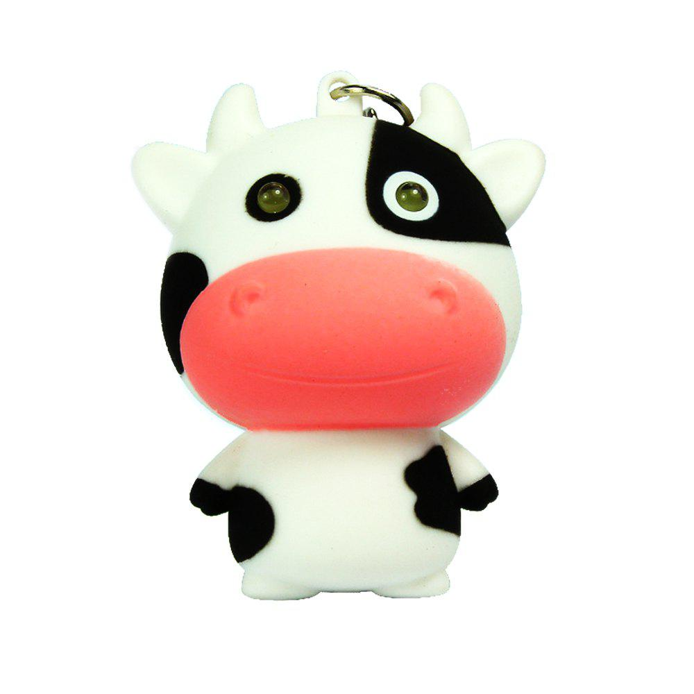 Noise-Making Cartoon Cow Keychain with LED Light noise making black spider keychain with led light