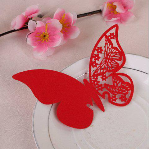 Creative Seat Card Wedding Table Table Decorative Paper Butterfly - RED 11X7.5CM