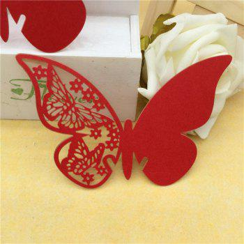 Creative Seat Card Wedding Table Table Decorative Paper Butterfl - RED 11X7.5CM