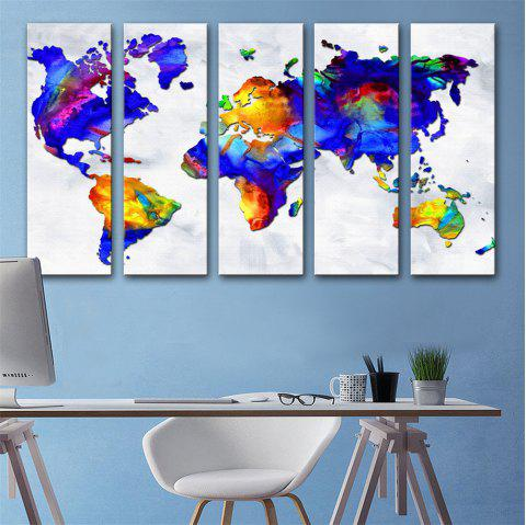 Special Design Frameless Paintings World Map Print 5PCS - multicolor 12 X 35 INCH (30CM X 90CM)