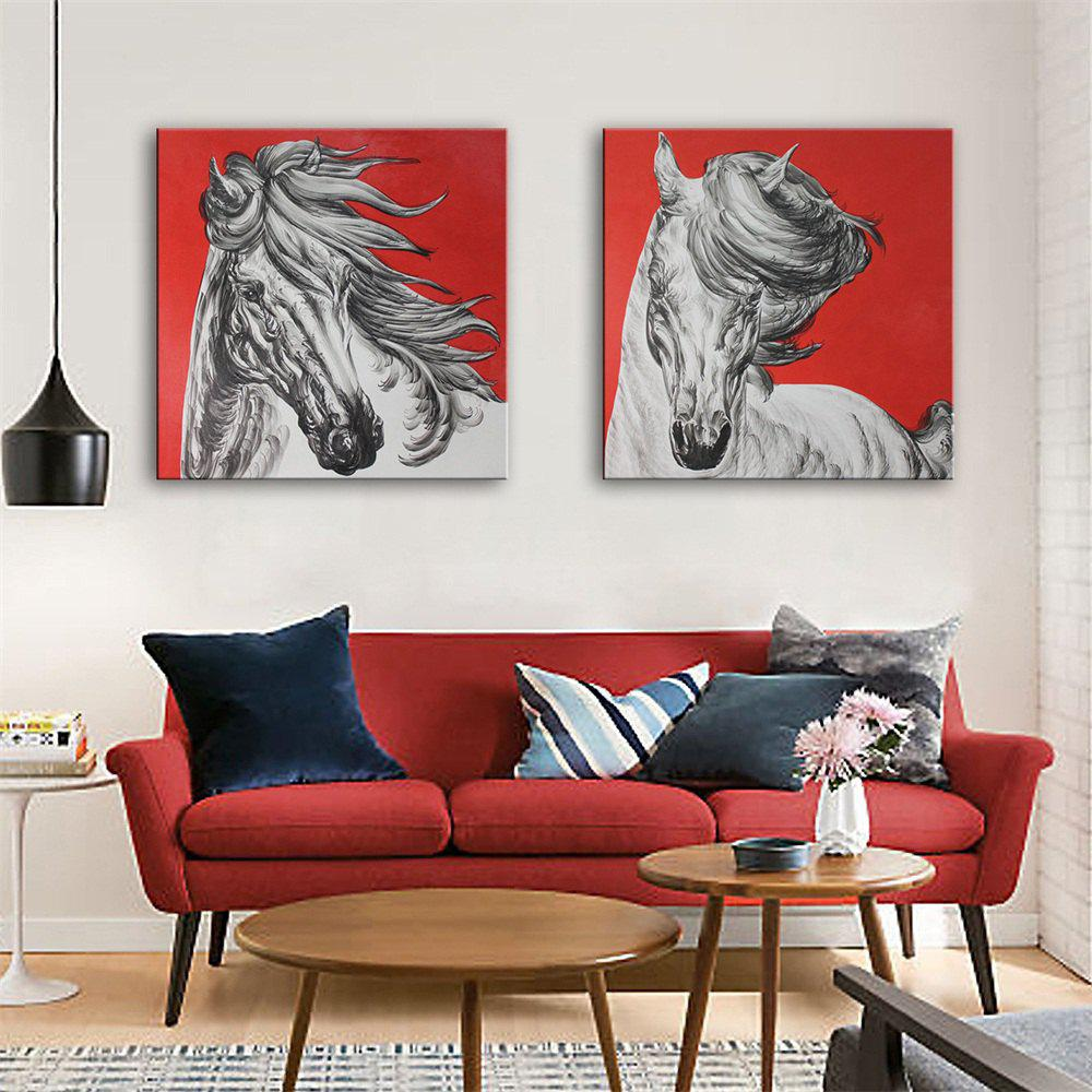 Special Design Frameless Paintings White Horse Print 2PCS - multicolor 24 X 24 INCH (60CM X 60CM)
