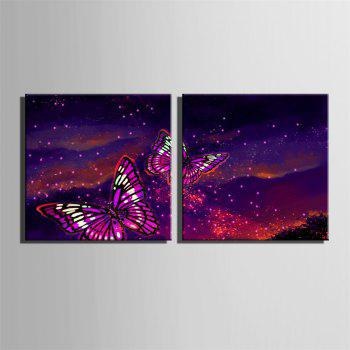Special Design Frameless Paintings Purple Butterfly Print  2PCS - DARK ORCHID 24 X 24 INCH (60CM X 60CM)
