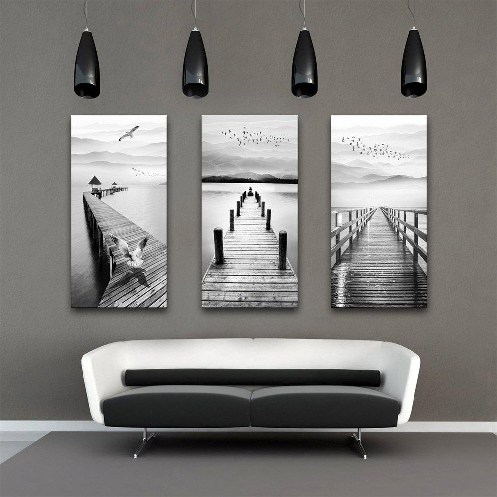 Special Design Frameless Paintings Wood Road Print 3PCS - GRAY GOOSE 24 X 16 INCH (60CM X 40CM)