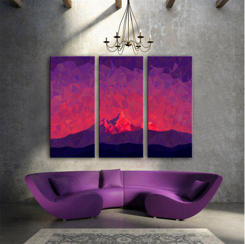 Special Design Frameless Paintings Red Mountain Print 3PCS - multicolor 24 X 16 INCH (60CM X 40CM)