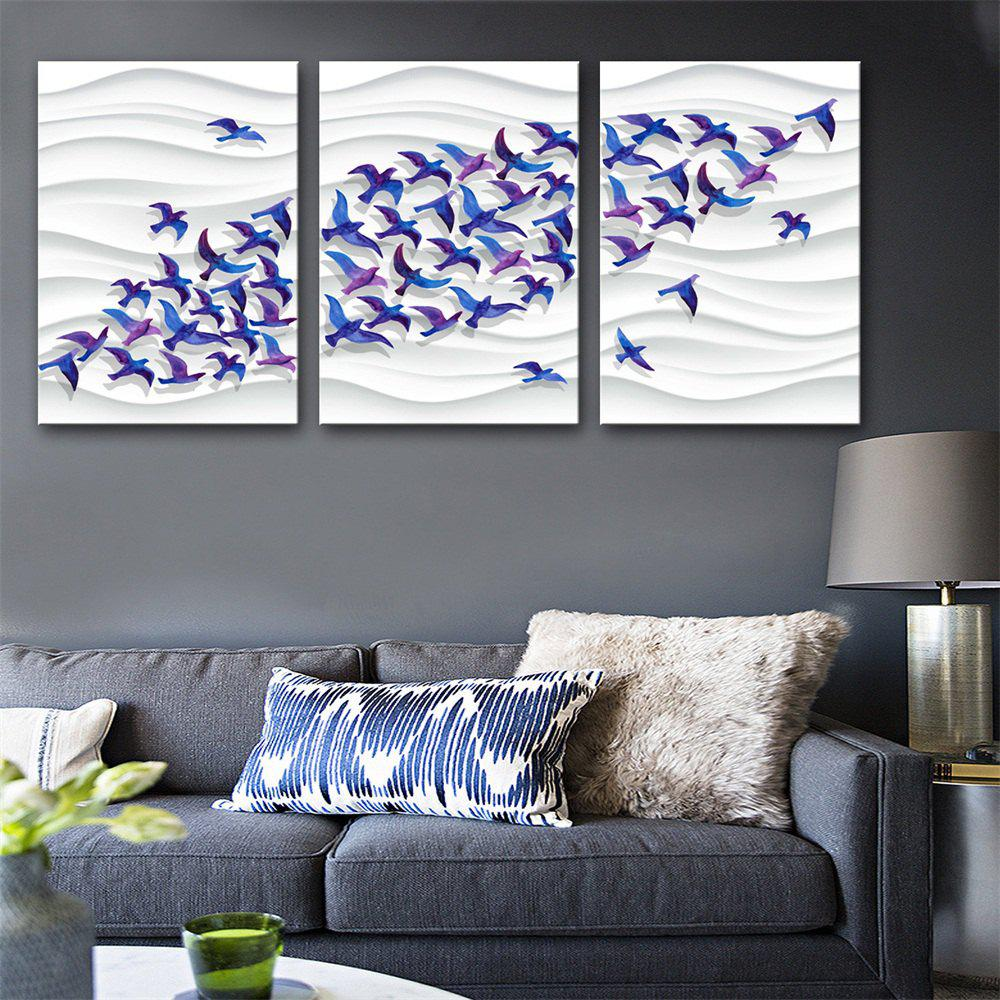 Special Design Frameless Paintings Flocks of Swallows Print 3PCS - multicolor 24 X 16 INCH (60CM X 40CM)