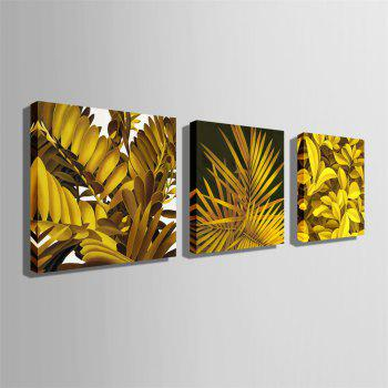 Special Design Frameless Paintings Yellow Leaves Print 3PCS - GOLDEN BROWN 24 X 24 INCH (60CM X 60CM)