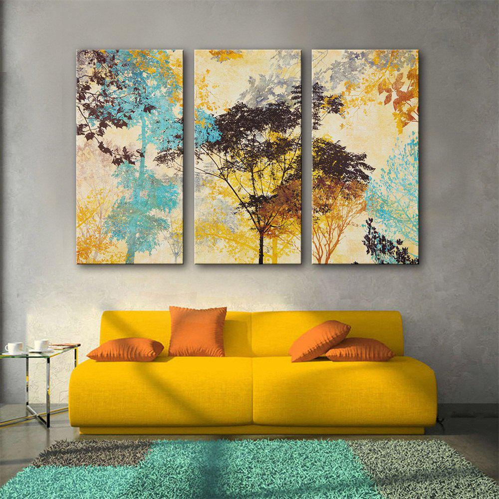 Special Design Frameless Paintings Colorful Tree Print 3PCS - multicolor 24 X 16 INCH (60CM X 40CM)