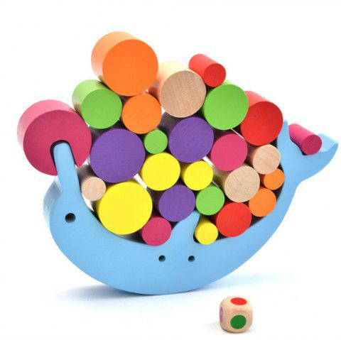 Dolphin Balance Game Children Puzzle Early Education Wood Stacked High Toys - multicolor