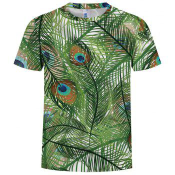 New Fashion Peacock Feather 3D Printed Men's Short Sleeve T-shirt - FROG GREEN S