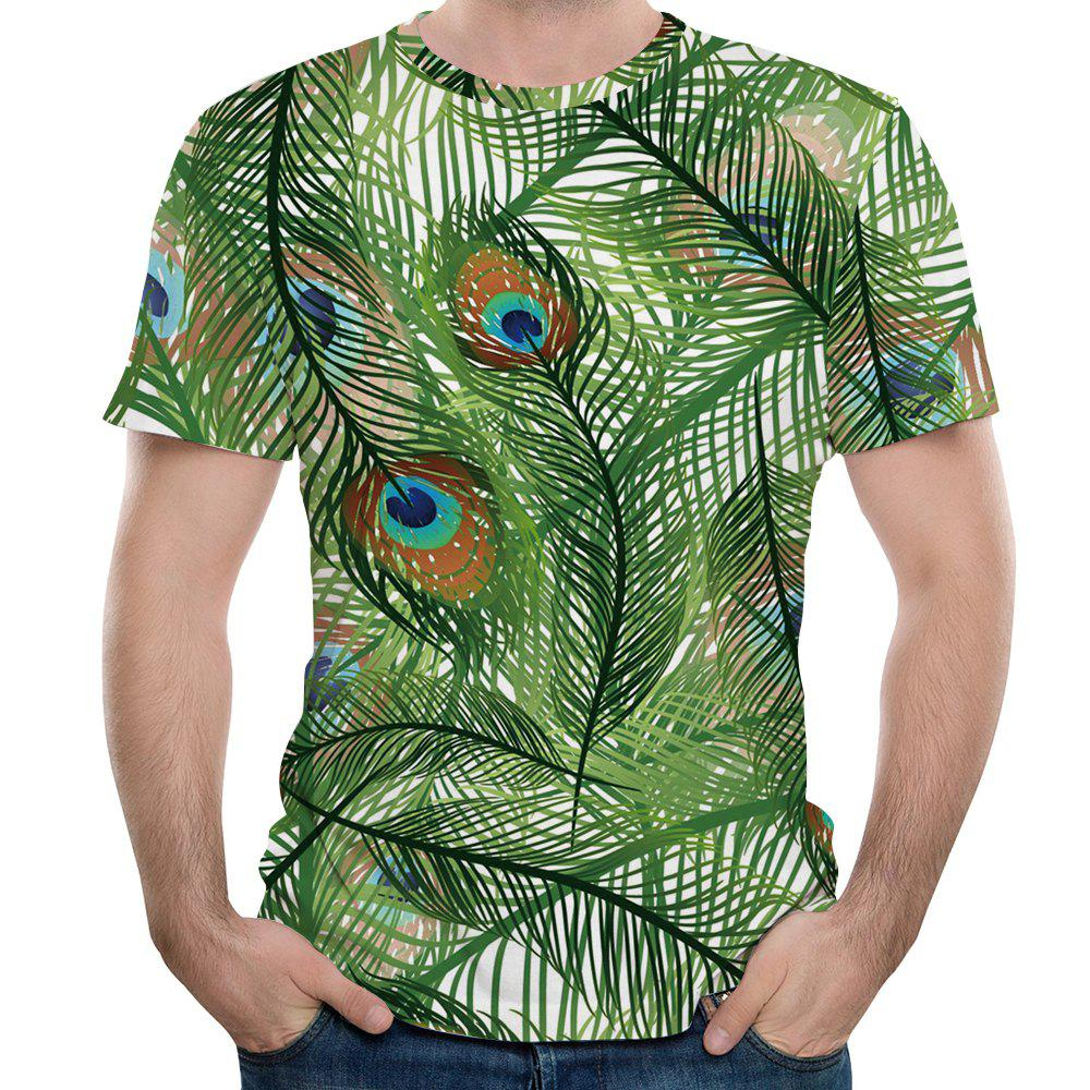 New Fashion Peacock Feather 3D Printed Men's Short Sleeve T-shirt - FROG GREEN M