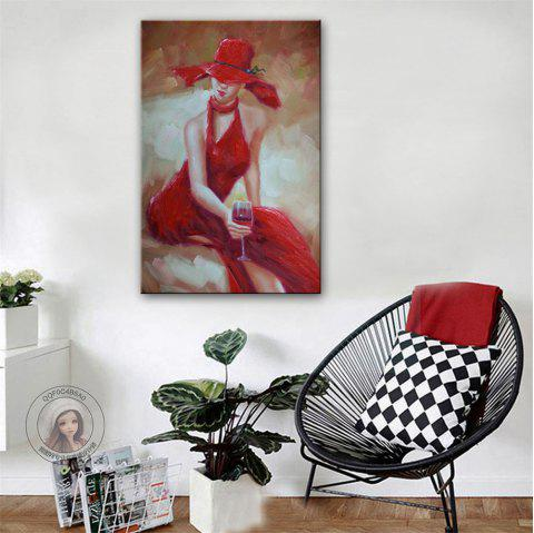 Special Design Frameless Paintings Red Wine Girl Print - multicolor 24 X 16 INCH (60CM X 40CM)
